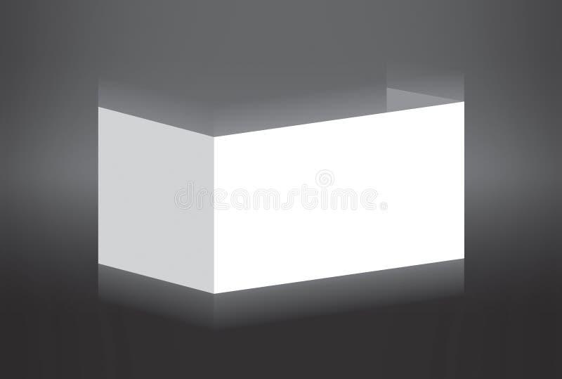 Άσπρο διπλωμένο έγγραφο που στέκεται στην γκρίζα ανασκόπηση απεικόνιση αποθεμάτων