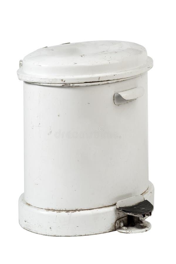 Άσπρο δοχείο απορριμμάτων   στοκ φωτογραφία
