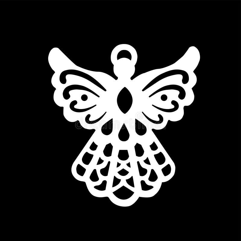 Άσπρο εικονίδιο αγγέλου, δημιουργικό πρότυπο λογότυπων σχεδίου ελεύθερη απεικόνιση δικαιώματος