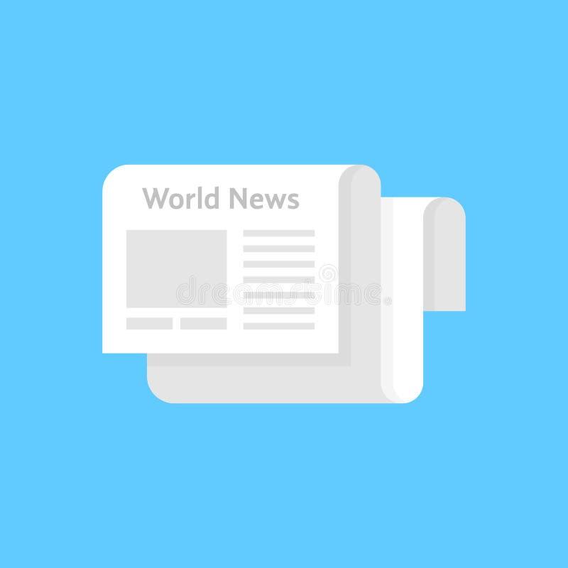 Άσπρο εικονίδιο εφημερίδων όπως τις παγκόσμιες ειδήσεις διανυσματική απεικόνιση