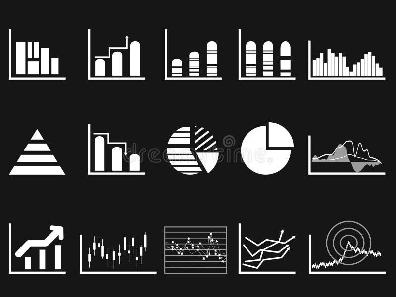 Άσπρο εικονίδιο διαγραμμάτων γραφικών παραστάσεων στο μαύρο υπόβαθρο απεικόνιση αποθεμάτων