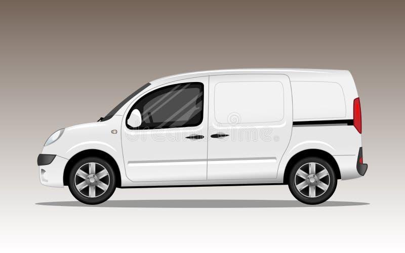 Άσπρο εμπορικό όχημα με τις ρόδες κραμάτων ελεύθερη απεικόνιση δικαιώματος