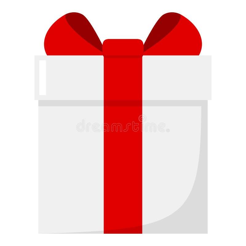 Άσπρο επίπεδο εικονίδιο κιβωτίων δώρων που απομονώνεται στο λευκό διανυσματική απεικόνιση