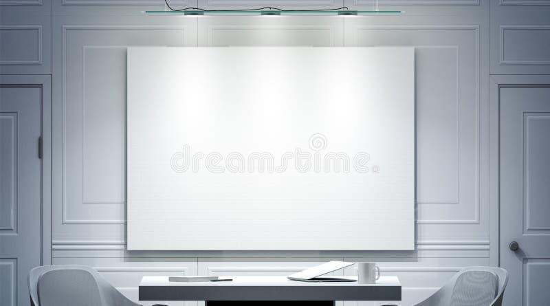 Άσπρο εσωτερικό γραφείων με το κενό πρότυπο εμβλημάτων στον τοίχο ελεύθερη απεικόνιση δικαιώματος