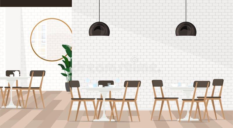 Άσπρο εσωτερικό καφές ή εστιατόριο σχεδίου με τις δειπνώντας ομάδες Διανυσματική επίπεδη απεικόνιση ελεύθερη απεικόνιση δικαιώματος