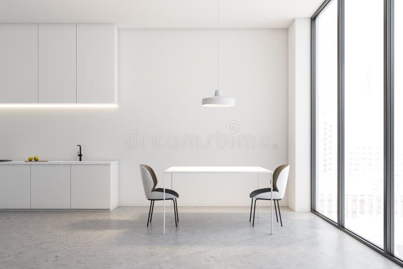 Άσπρο εσωτερικό κουζινών σοφιτών με τον πίνακα διανυσματική απεικόνιση