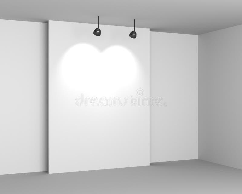 Άσπρο εσωτερικό στοών με το κενούς γραφείο και τους λαμπτήρες ελεύθερη απεικόνιση δικαιώματος