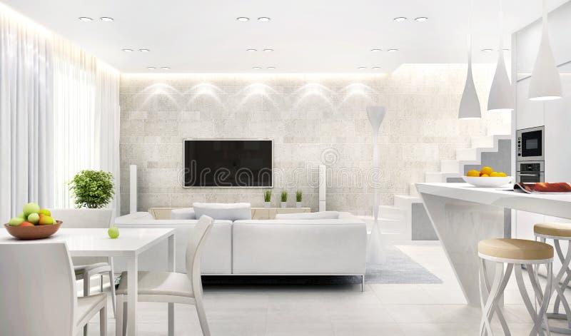 Άσπρο εσωτερικό της σύγχρονης κουζίνας που συνδυάζεται με το καθιστικό στοκ εικόνα με δικαίωμα ελεύθερης χρήσης