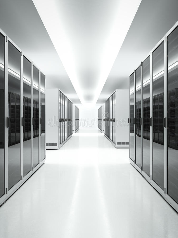 Άσπρο εσωτερικό του κέντρου δεδομένων διανυσματική απεικόνιση
