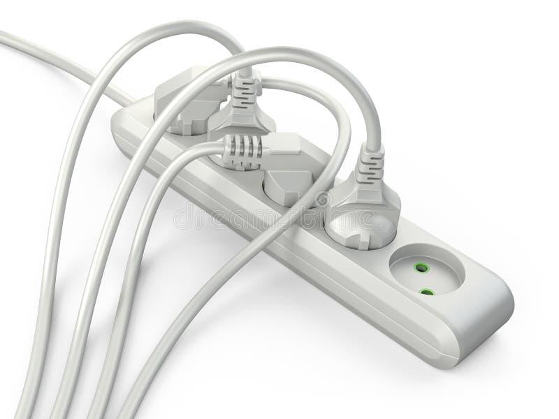 Άσπρο ηλεκτρικό σκοινί λουρίδων επέκτασης με τα συνδεδεμένα βουλώματα δύναμης διανυσματική απεικόνιση