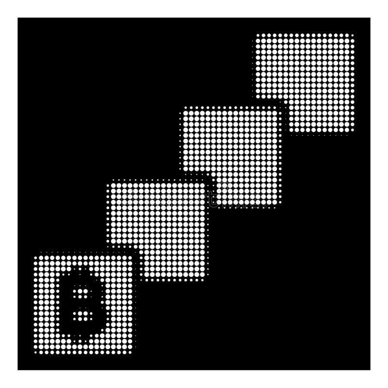 Άσπρο ημίτονο εικονίδιο Bitcoin Blockchain απεικόνιση αποθεμάτων