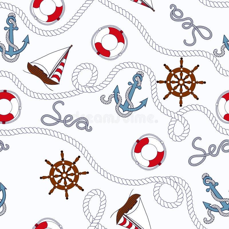 Άσπρο θαλάσσιο άνευ ραφής σχέδιο ελεύθερη απεικόνιση δικαιώματος