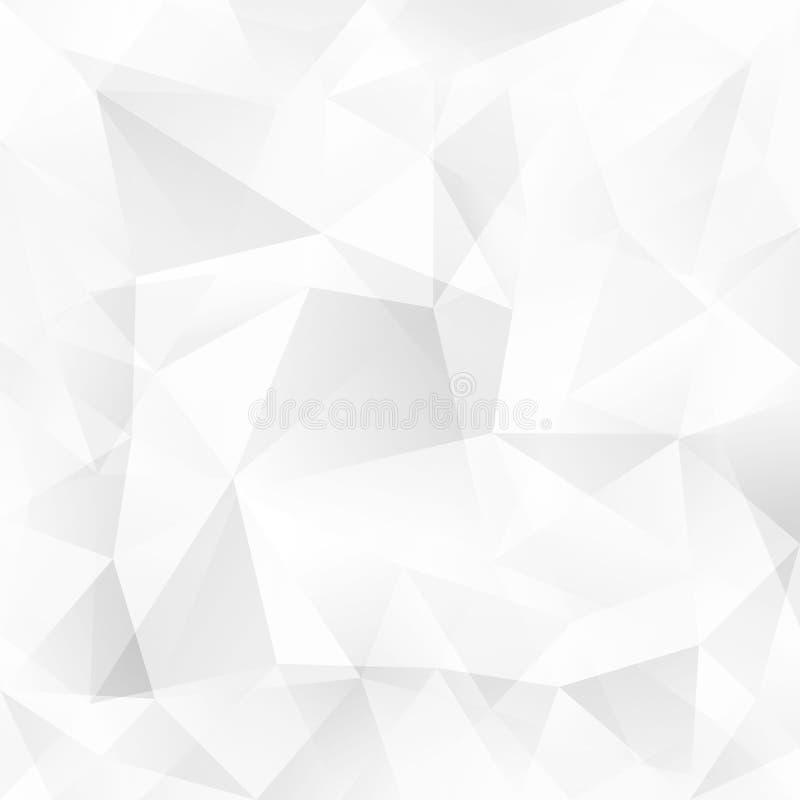 Άσπρο διανυσματικό αφηρημένο υπόβαθρο τριγώνων κρυστάλλου ελεύθερη απεικόνιση δικαιώματος