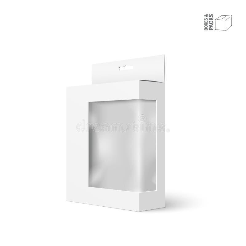 Άσπρο διανυσματικό κιβώτιο συσκευασίας προϊόντων με το παράθυρο απεικόνιση αποθεμάτων