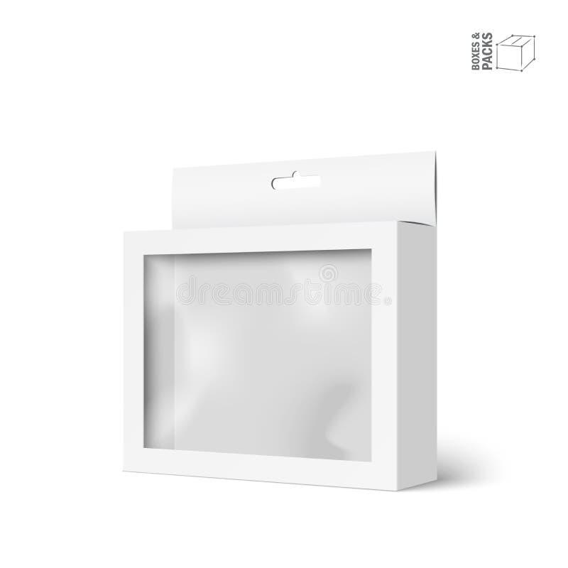 Άσπρο διανυσματικό κιβώτιο συσκευασίας προϊόντων με το παράθυρο διανυσματική απεικόνιση