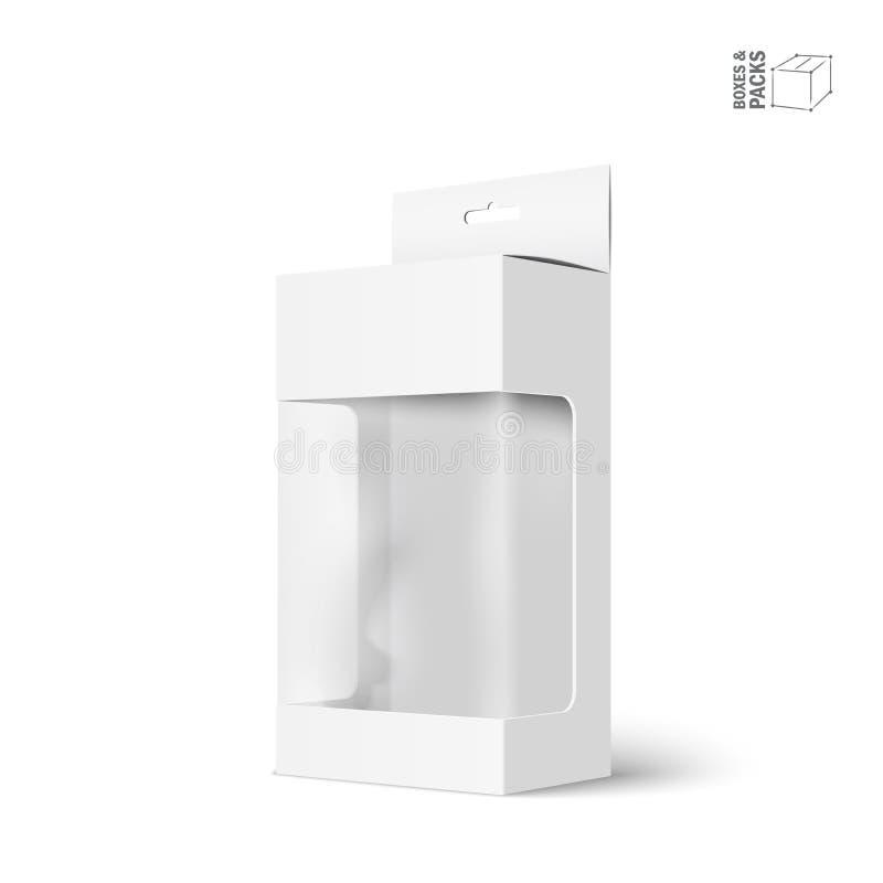 Άσπρο διανυσματικό κιβώτιο συσκευασίας προϊόντων με το παράθυρο ελεύθερη απεικόνιση δικαιώματος