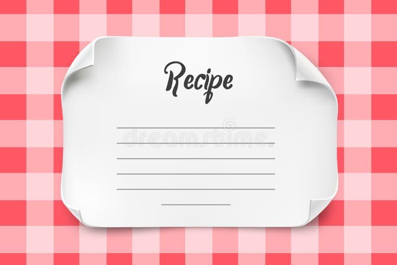 Άσπρο διανυσματικό φύλλο εγγράφου με τις κυρτές γωνίες για το πρότυπο συνταγής Συνταγή σημειώσεων εγγράφου απεικόνιση αποθεμάτων