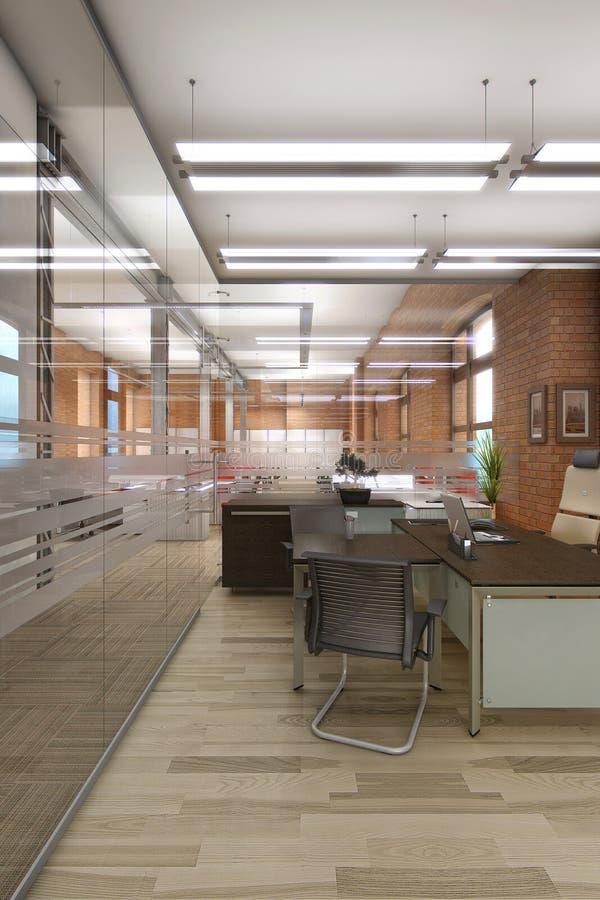 Άσπρο καθαρό γραφείο με τα έπιπλα στοκ φωτογραφία