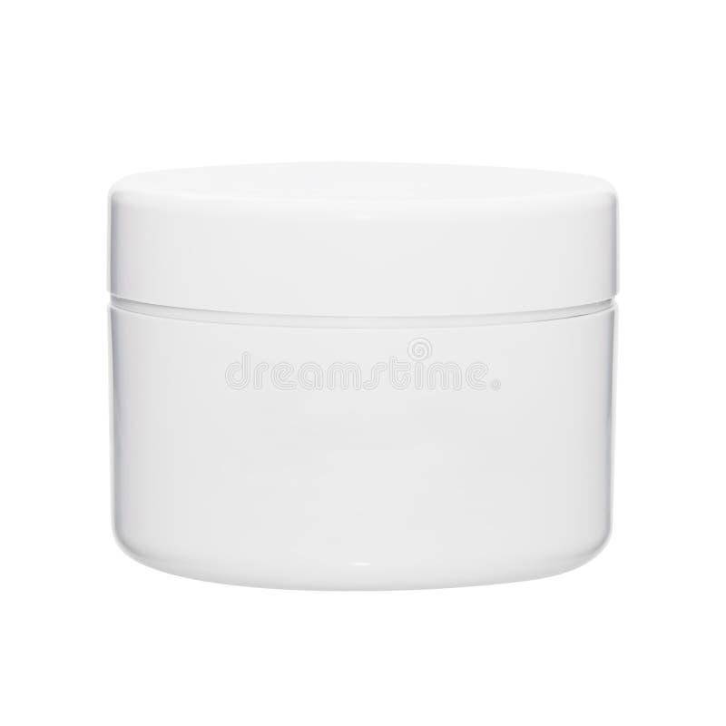 Άσπρο καθαρό κλειστό επίπεδο βάζο από κάτω από την καλλυντική κρέμα στοκ εικόνες με δικαίωμα ελεύθερης χρήσης