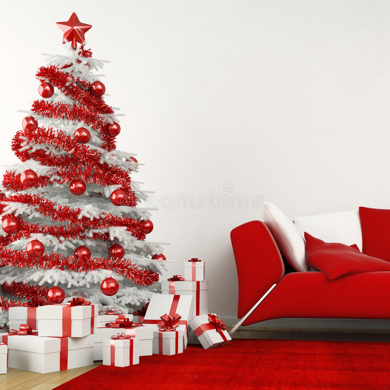 Άσπρο και κόκκινο χριστουγεννιάτικο δέντρο ελεύθερη απεικόνιση δικαιώματος