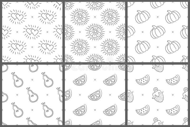 Άσπρο και μαύρο άνευ ραφής σύνολο σχεδίων Διανυσματική ανασκόπηση Καρδιά, λουλούδι, καρπούζι  φρούτα  μούρο  φράουλα  φυτικός  αχ διανυσματική απεικόνιση