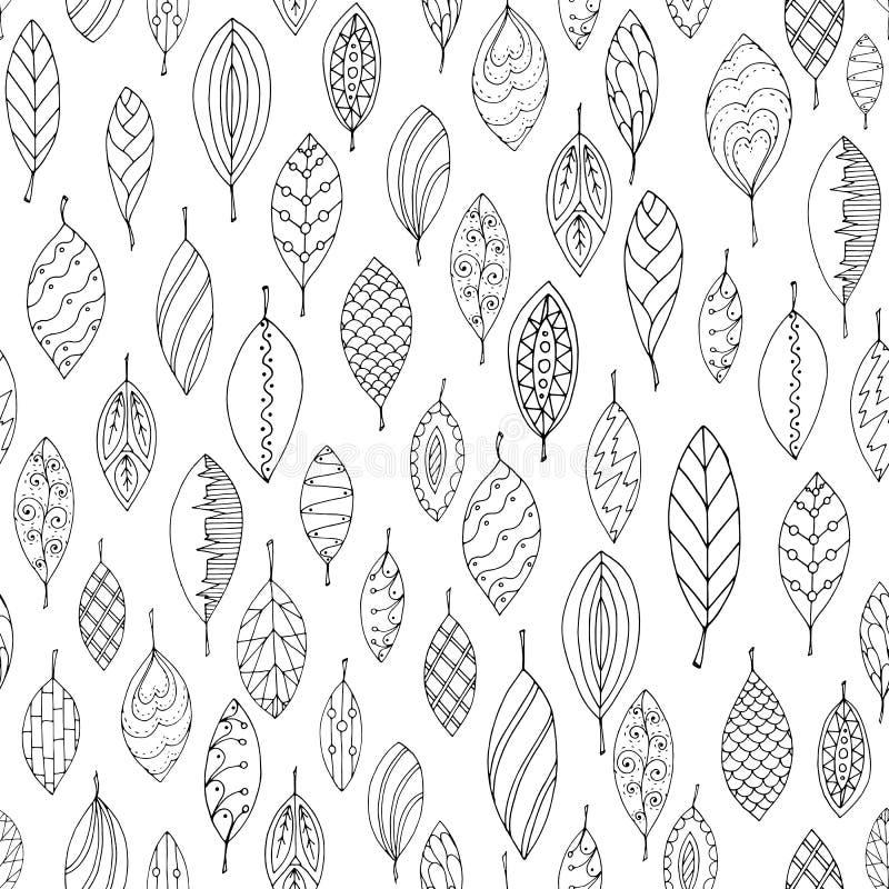 Άσπρο και μαύρο άνευ ραφής τυποποιημένο φύλλο φθινοπώρου διανυσματική απεικόνιση