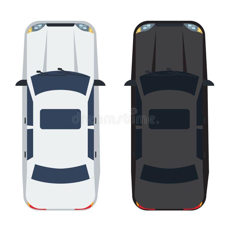 Άσπρο και μαύρο αυτοκίνητο φορείων δύο με τη τοπ άποψη Στερεό και επίπεδο σχέδιο ύφους χρώματος ελεύθερη απεικόνιση δικαιώματος