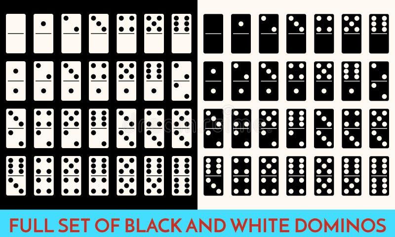 Άσπρο και μαύρο σύνολο χρώματος ντόμινο Πλήρη κλασικά κόκκαλα ντόμινο παιχνιδιών που απομονώνονται στο λευκό Σύγχρονο διάνυσμα συ απεικόνιση αποθεμάτων