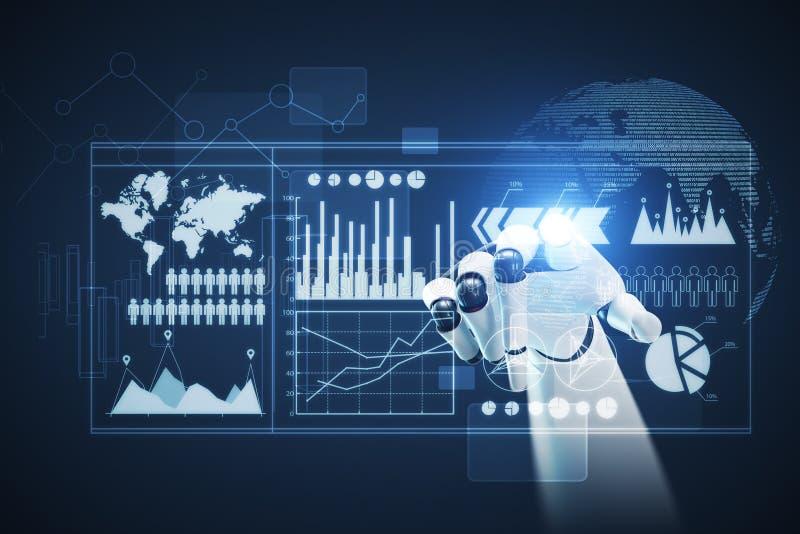 Άσπρο και μαύρο χέρι ρομπότ, γραφικές παραστάσεις που τονίζονται διανυσματική απεικόνιση
