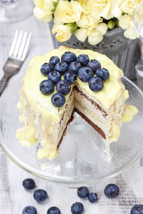 Άσπρο και σκοτεινό κέικ στρώματος σοκολάτας που διακοσμείται με τα βακκίνια στοκ φωτογραφίες