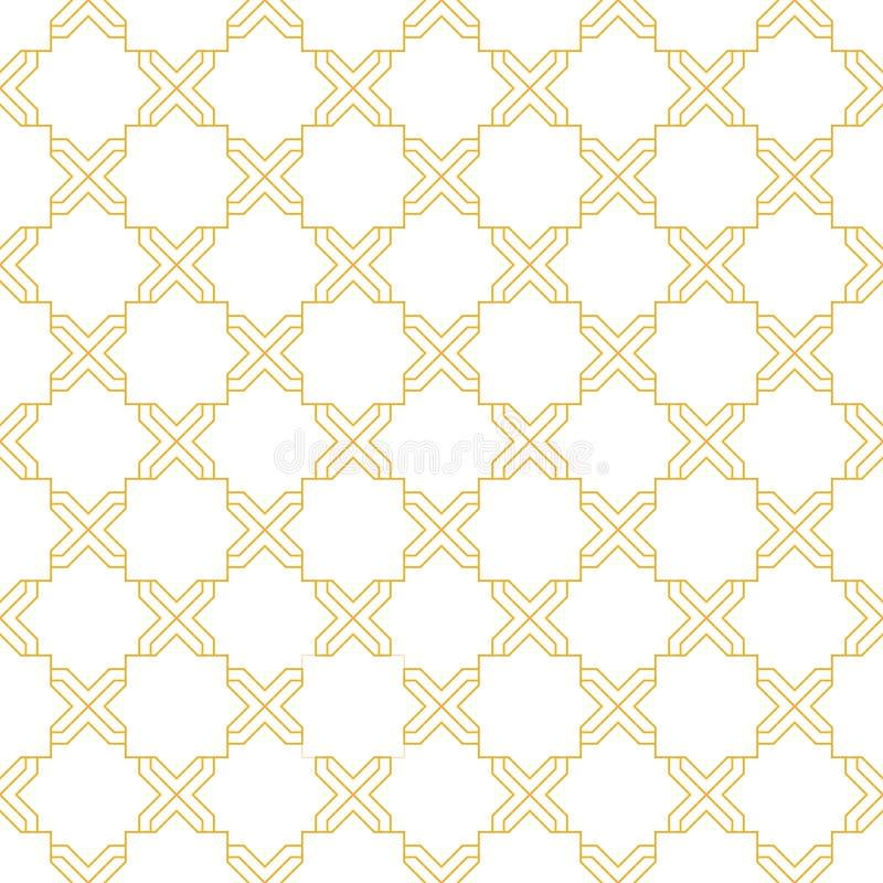 Άσπρο και χρυσό άνευ ραφής σχέδιο απεικόνιση αποθεμάτων