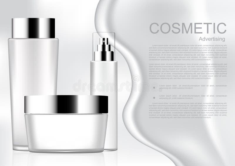 Άσπρο καλλυντικό προϊόν με άσπρο καλλυντικό ομο κρέμας και προτύπων απεικόνιση αποθεμάτων