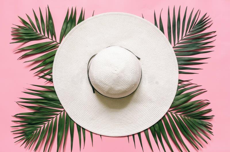 Άσπρο καπέλο αχύρου και πράσινα φύλλα φοινικών τακτοποιημένος στο ανοικτό ροζ υπόβαθρο στοκ φωτογραφίες