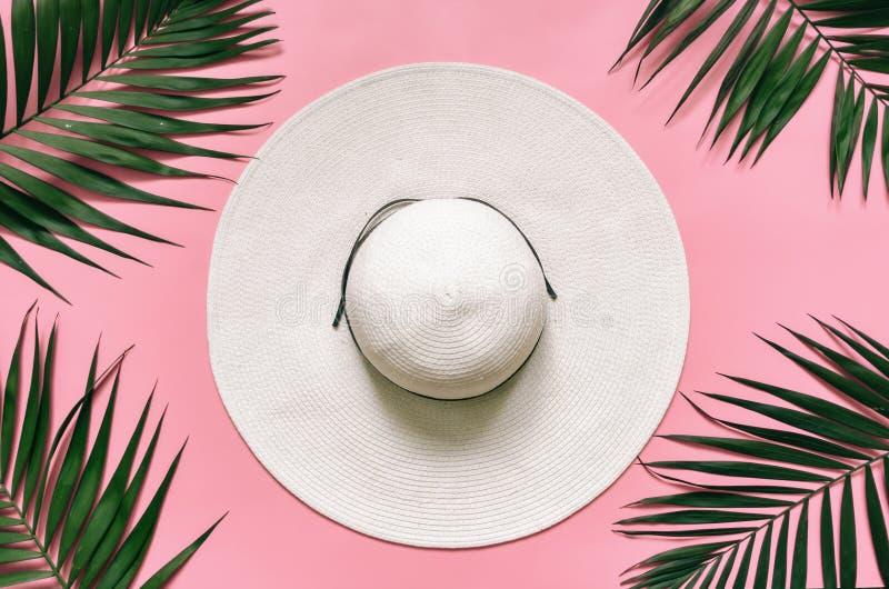 Άσπρο καπέλο αχύρου και πράσινα φύλλα φοινικών τακτοποιημένος στο ανοικτό ροζ υπόβαθρο στοκ φωτογραφία με δικαίωμα ελεύθερης χρήσης