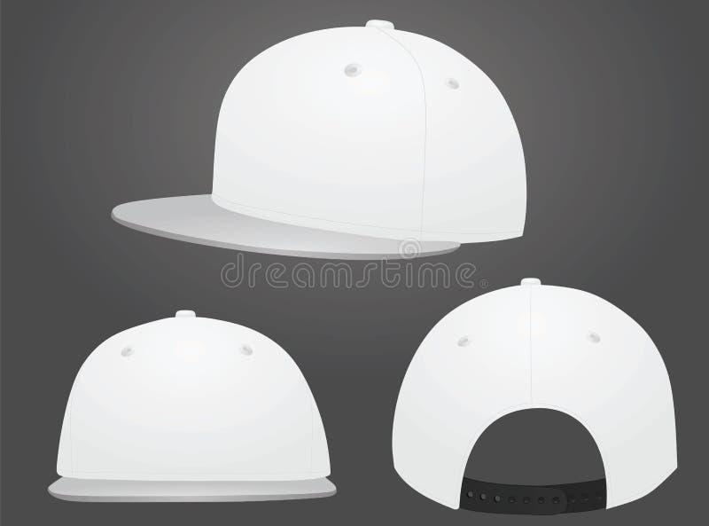 Άσπρο καπέλο του μπέιζμπολ γκρίζο γείσο διανυσματική απεικόνιση