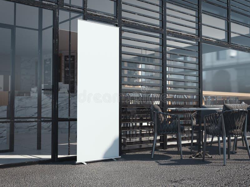 Άσπρο κενό έμβλημα rollup κοντά στο εστιατόριο τρισδιάστατη απόδοση στοκ φωτογραφίες
