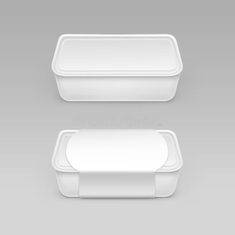 Άσπρο κενό εμπορευματοκιβώτιο πλαστικών κιβωτίων τροφίμων για τη μαγιονέζα, μαργαρίνη, τυρί, παγωτό με την ετικέτα που απομονώνετ απεικόνιση αποθεμάτων