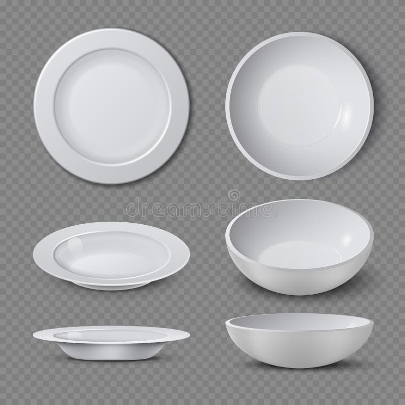 Άσπρο κενό κεραμικό πιάτο στη διαφορετική απομονωμένη απόψεις διανυσματική απεικόνιση διανυσματική απεικόνιση