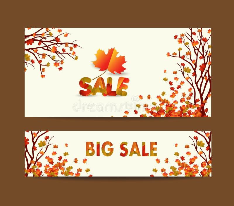 Άσπρο κενό με τα φύλλα σφενδάμου φθινοπώρου στο υπόβαθρο για το έμβλημα σχεδίου, εισιτήριο, φυλλάδιο, κάρτα, αφίσα διανυσματική απεικόνιση