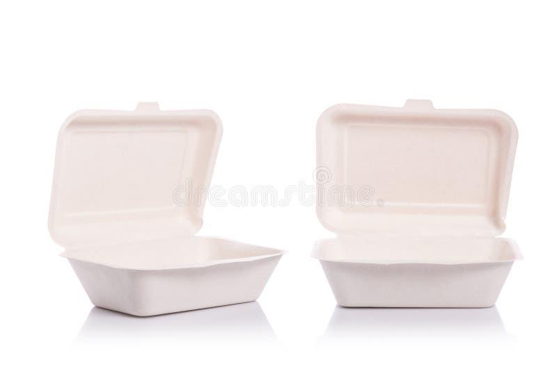 Άσπρο κενό οργανικό κιβώτιο που γίνεται από τη βαγάσση για τη συσκευασία τροφίμων ST στοκ φωτογραφία με δικαίωμα ελεύθερης χρήσης