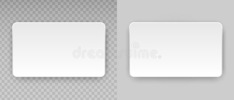 Άσπρο κενό οριζόντιο πλαστικό, επαγγελματική κάρτα εγγράφου ή πρότυπο πιστωτικών καρτών ονόματος στο διαφανές υπόβαθρο Διάνυσμα κ απεικόνιση αποθεμάτων