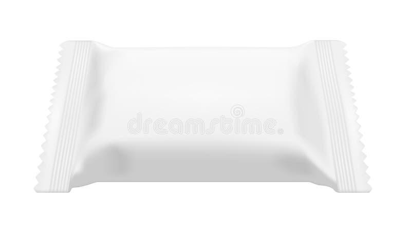 Άσπρο κενό πακέτο πρόχειρων φαγητών τροφίμων φύλλων αλουμινίου για τα τσιπ, την καραμέλα και άλλα προϊόντα Υγρός σκουπίζει τη συσ απεικόνιση αποθεμάτων