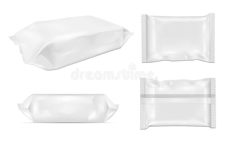 Άσπρο κενό πακέτο πρόχειρων φαγητών τροφίμων φύλλων αλουμινίου για τα τσιπ, την καραμέλα και άλλα προϊόντα Υγρός σκουπίζει τη συσ ελεύθερη απεικόνιση δικαιώματος