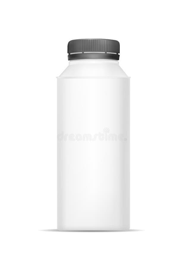 Άσπρο κενό πλαστικό μπουκάλι για το γιαούρτι Συσκευάζοντας για την ξινά κρέμα, τη σάλτσα και το πρόχειρο φαγητό απεικόνιση αποθεμάτων