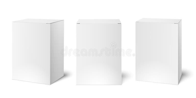 Άσπρο κενό πρότυπο κιβωτίων συσκευασίας χαρτονιού Τρισδιάστατο ρεαλιστικό κιβώτιο φαρμάκων που συσκευάζει το διανυσματικό πρότυπο ελεύθερη απεικόνιση δικαιώματος