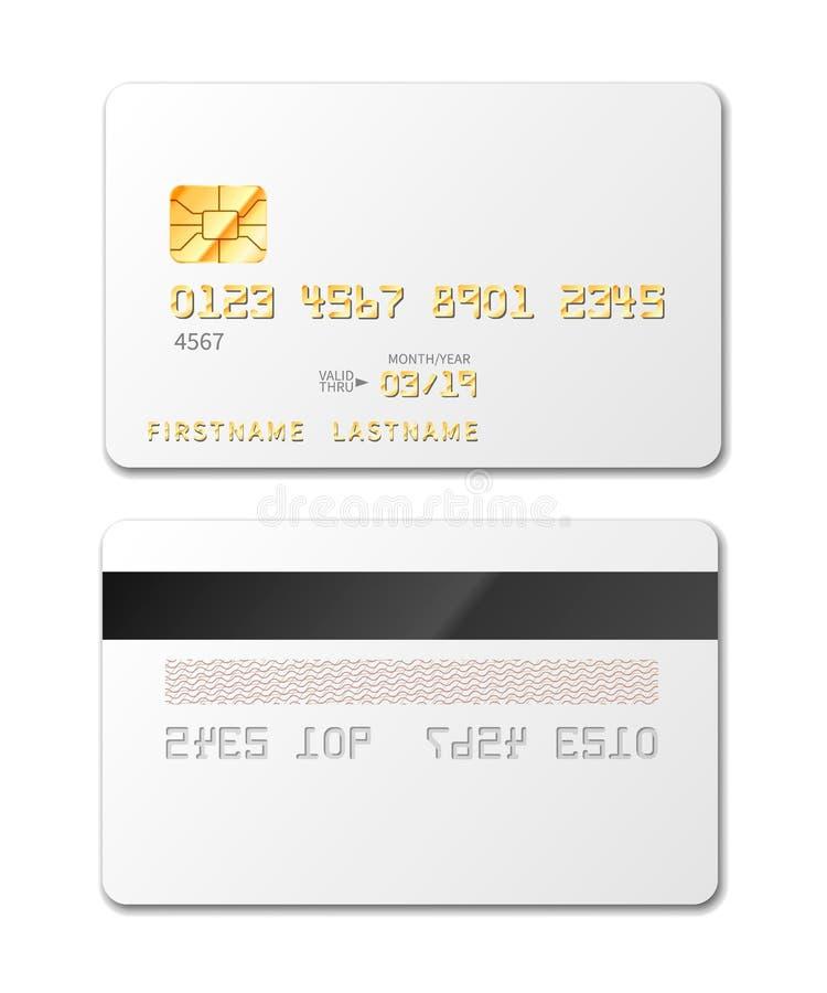 Άσπρο κενό πρότυπο πιστωτικών καρτών στο λευκό ελεύθερη απεικόνιση δικαιώματος