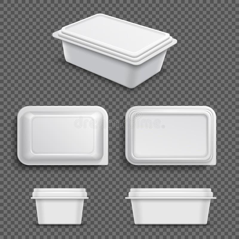 Άσπρο κενό πλαστικό εμπορευματοκιβώτιο τροφίμων τη μαργαρίνη που διαδίδεται για ή το βούτυρο Ρεαλιστική τρισδιάστατη διανυσματική διανυσματική απεικόνιση