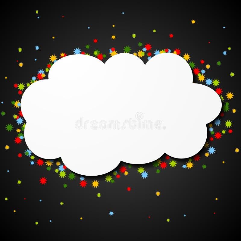 Άσπρο κενό σύννεφο εγγράφου με τα ζωηρόχρωμα αστέρια απεικόνιση αποθεμάτων