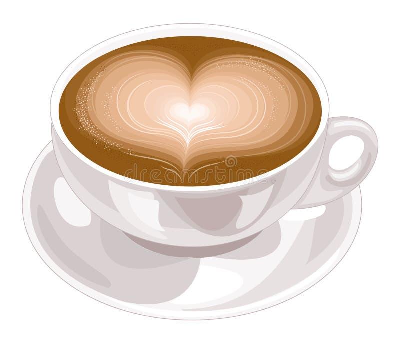 Άσπρο κεραμικό φλυτζάνι με ένα κύπελλο Σε ένα φλιτζάνι του καφέ ή ένα διαμορφωμένο καρδιά cappuccino r ελεύθερη απεικόνιση δικαιώματος