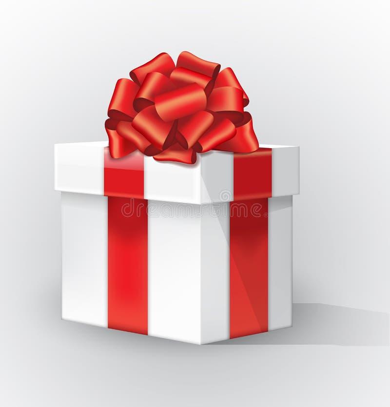 Άσπρο κιβώτιο δώρων με ένα κόκκινες τόξο και μια σκιά Η κόκκινη κορδέλλα καμπυλών με ένα χρυσό λωρίδα έδεσε απομονωμένο το τόξο ρ ελεύθερη απεικόνιση δικαιώματος